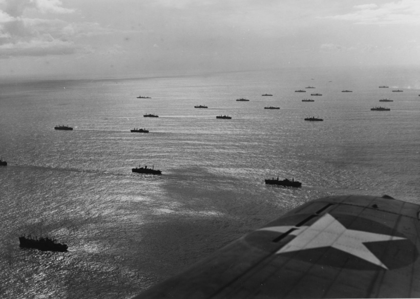 North Africa Operation, November 1942 Invasion convoy en route to Morocco, circa early November 1942. Ships include more than twenty transports, with USS TEXAS (BB-35) and USS AUGUSTA (CA-31) in the distance. Photographed from an SBD off one of the invasion force aircraft carriers. Catalog #: 80-G-1032486