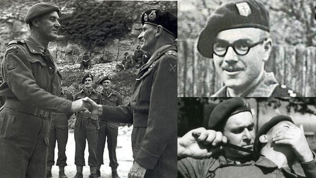 Philippe Kieffer, in commando garb meeting Monty, along with early BFMC legends Augustin Hubert (glasses) and Charles Trépel (pointy thing.) The dashing Trepel would be killed in a commando raid off the Dutch coast in 1944 while Hubert was killed on D-Day by a sniper near the Ouistreham casino.
