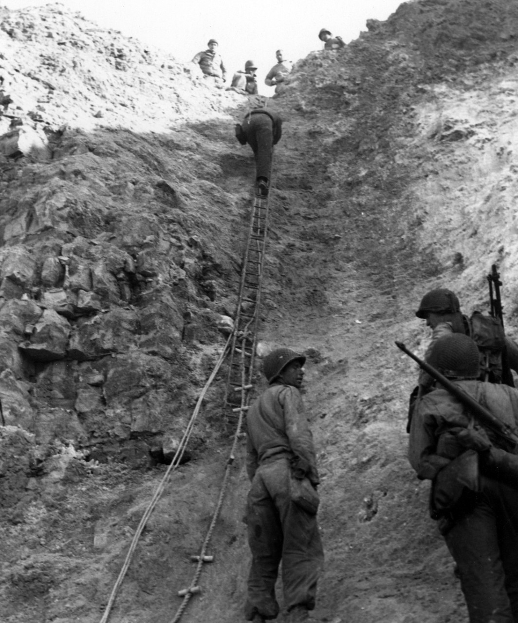 U.S. Army Rangers show off the ladders they used to storm the cliffs at Pointe du Hoc, which they assaulted in support of Omaha Beach landings on D-Day M1 Garand BAR 80-G-45716