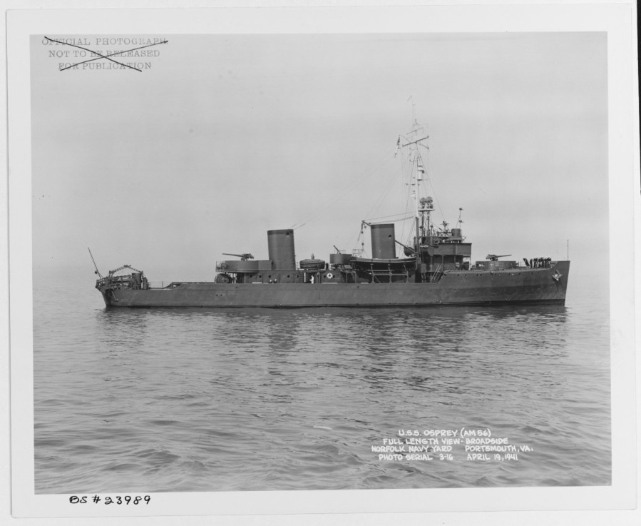 USS Osprey (AM-56) Off the Norfolk Navy Yard, Portsmouth, Virginia, 19 April 194119-N-23989