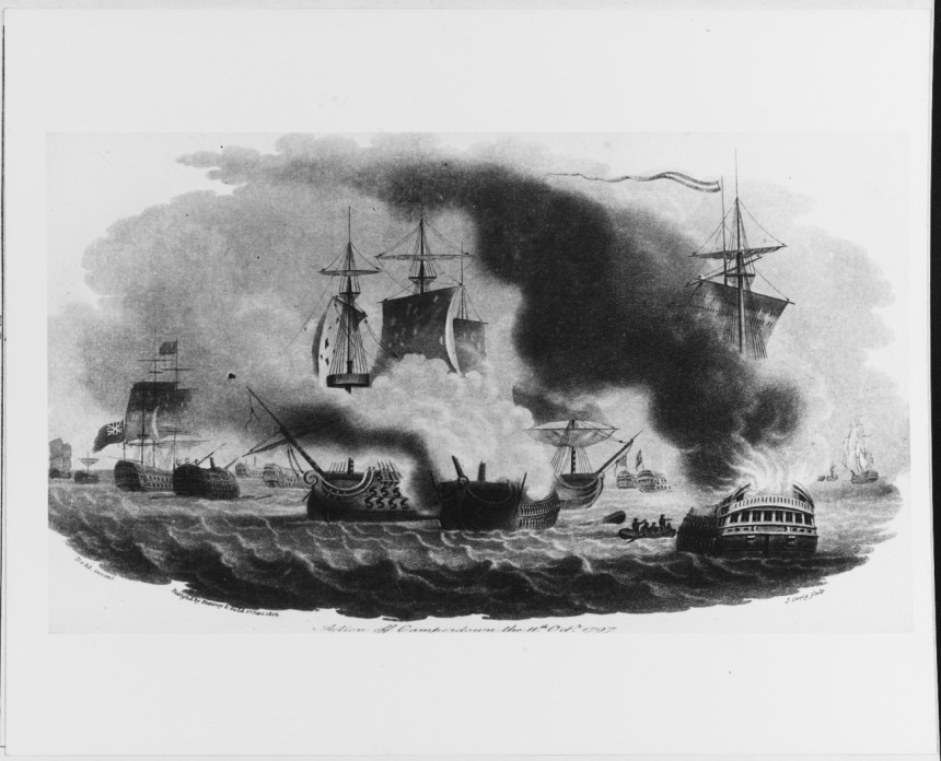"""""""Action off Camperdown"""" Stipple engraving by J. Greig after R. Dodd. Published in The Naval Chronicle, September 1800, by Bunney & Gold, London. View representing the situation shortly before the action ended the Dutch Flagship is seen at center engaged with HMS VENERABLE, while the Dutch 64 gun ship HERCULES drifts afire across these ships' bows. on the left is HMS MONARCH with her prize, The JUPITER NH 66179"""