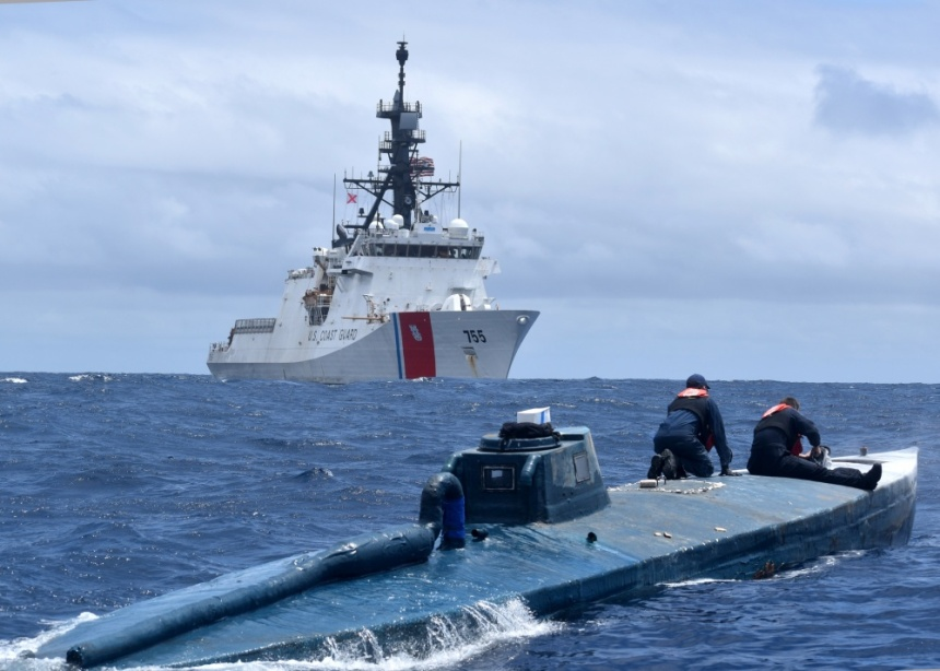 U.S. Coast Guard Cutter Munro (WMSL 755) crew members inspect a self-propelled semi-submersible June 19, 2019, in international waters of the Eastern Pacific Ocean. U.S. Coast Guard photo