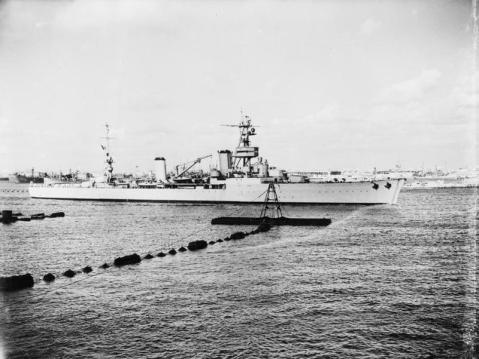 French heavy cruiser Suffren leaving Alexandria Harbor, Egypt, 23rd June 1943, after a three-year stay during which she was interned by the British. She sailed out to join the Free French forces- IWM Photo