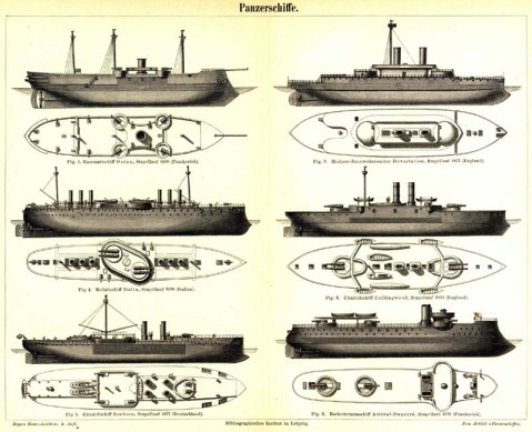 French ironclad Océan & British ironclad HMS Devastation Middle Italian battleship Italia and HMS Collingwood LowerGerman battleship Sachsen and French battleship Amiral Duperré.