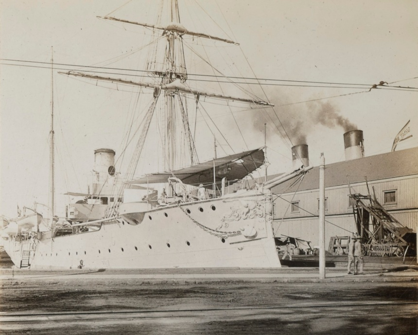 German cruiser Geier shown interned in Honolulu. Photo by Herbert B Turner. NARA 165-WW-272C-006