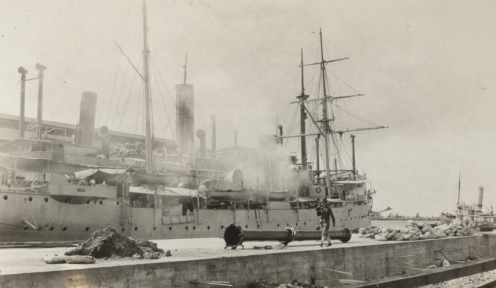 German cruiser Geier with boilers on fire being sabotauged by her crew Honolulu Feb 4 1917 Photo by Herbert NARA 165-WW-272C-007