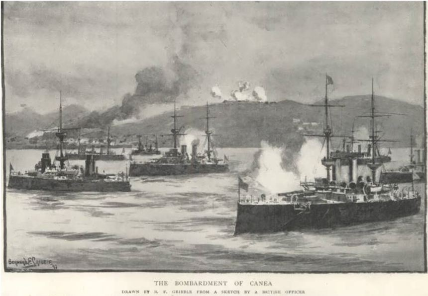 International Squadron bombarding Chania, 21 February 1897. B. F. Gribble, from a sketch by a British officer published in The Graphic via Wiki.