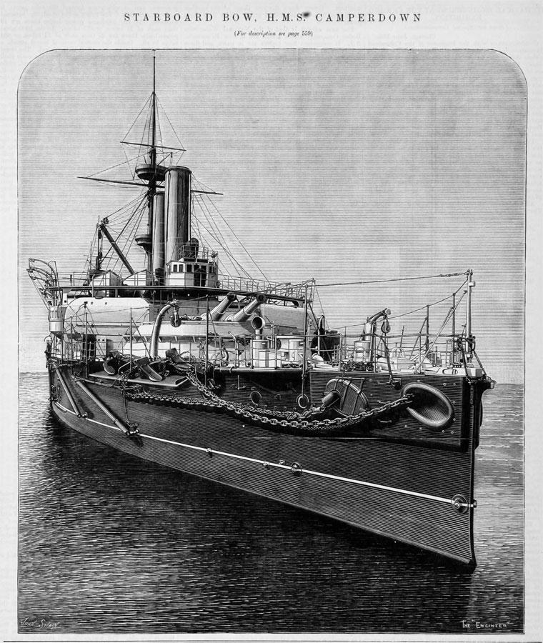 Starboard bow HMS Camperdown The Engineer 1893