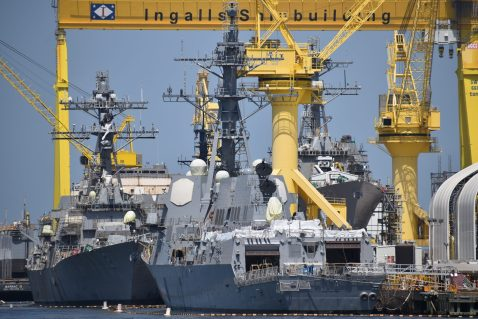 Three greyhounds, fitting out USS John Basilone (DDG-122) USS Delbert D. Black (DDG-119) USS Lenah H. Sutcliffe Higbee (DDG-123) Ingalls Eger July 2019 3000