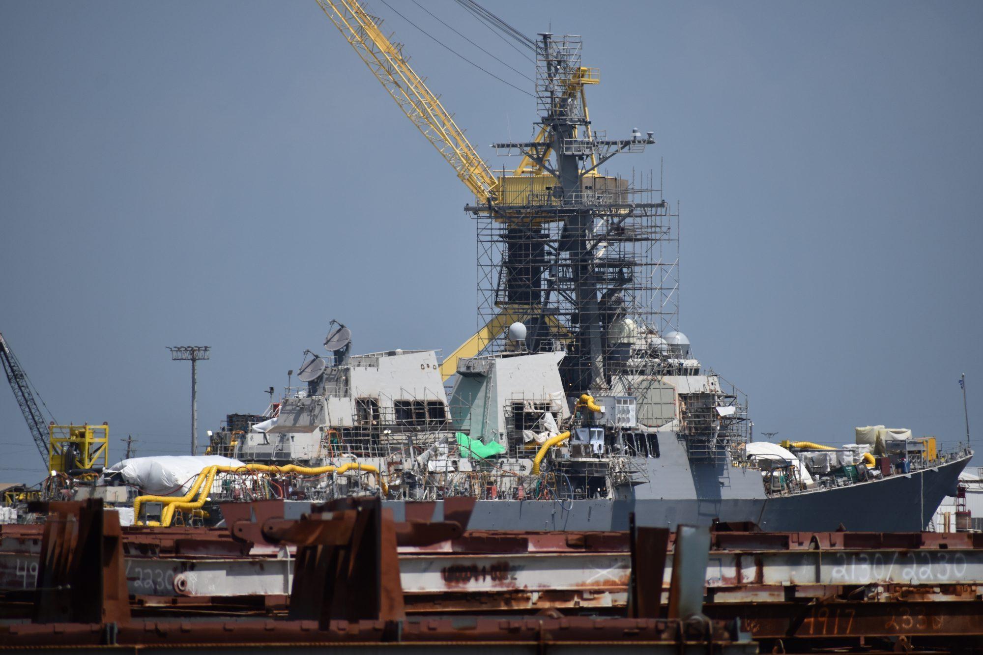 USS Fitzgerald (DDG 62) under repair Ingalls West Bank Pascagoula River July 2019 eger (2)