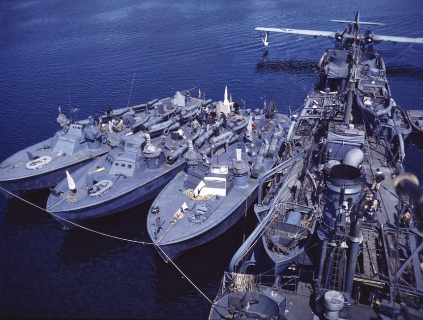 3 US Navy PT-boats Aleutians in June 1943 eaplane tender GILLIS AVD12 PBY Catalina Higgins boats Mk 19 torpedo tubes.