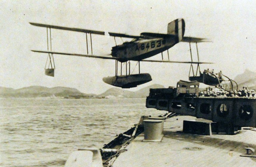 80-G-410390 VE-9 Vought aircraft, (BuNo# A6463) leaving the catapult of USS Nevada (BB 36) 1922