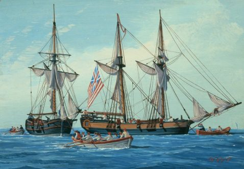 Continental Navy sloop-of-war Fly (8 guns) along with Continental Navy sloop-of-war Mosquito (4 guns). Both ships were mentioned as being on station in Delaware Bay with Fly watching six British ships in a letter dated 30 December 1776. This image from a 1974 painting by William Nowland Van Powell currently in the U.S. Navy Art Collection