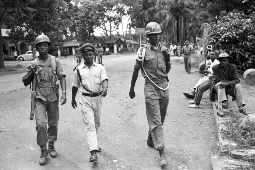 A mixed patrol of Ethiopian soldiers and local police officer patrol Commune Albert near Elisabethville March 1963 UN Photo # 210715