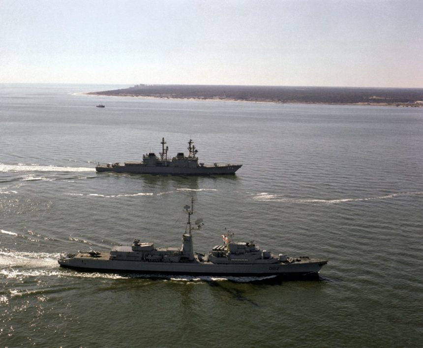 A starboard beam view of the destroyer USS COMTE DE GRASSE (DD-974) and the French destroyer De GRASSE (D-612) underway near Cape Henry on their way to Norfolk. The ships participated in the joint U.S./French bicentennial celebration at Yorktown, Va.
